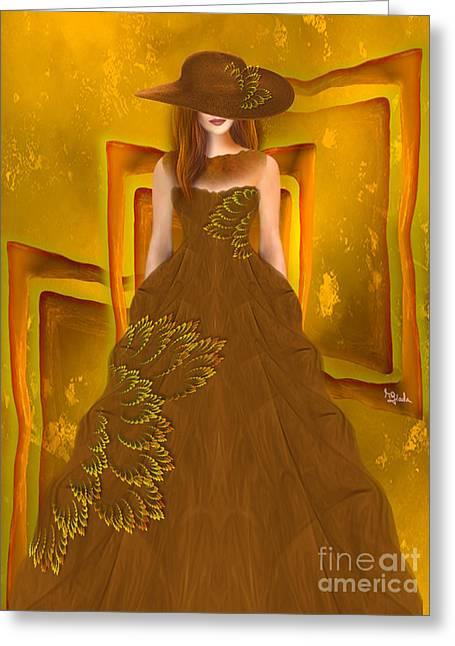 Fashion Design Art - Autumn Ball Gown By Rgiada Greeting Card by Giada Rossi