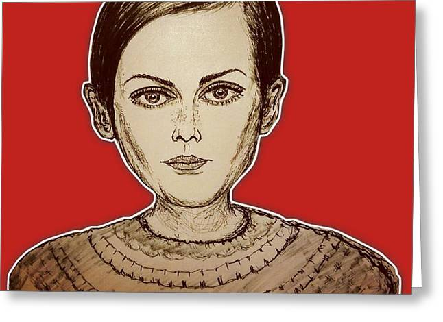 Fashion Icon - Twiggy Greeting Card by Yks By Ofs