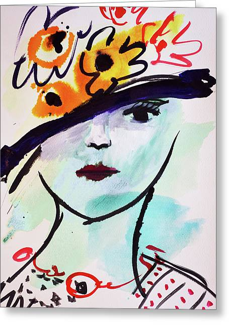 Fashion, Vintage Hat With Flowers Greeting Card