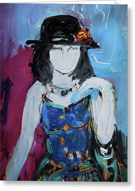 Fashion Woman With Vintage Hat And Blue Dress Greeting Card