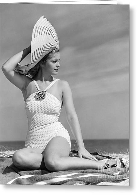 Fashionable Woman At The Beach Greeting Card by H. Armstrong Roberts/ClassicStock