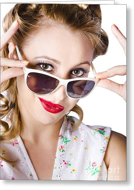 Fashionable Woman In Sun Shades Greeting Card by Jorgo Photography - Wall Art Gallery