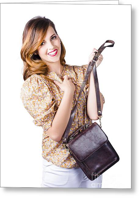 Fashionable Woman With Hand Bag Greeting Card by Jorgo Photography - Wall Art Gallery