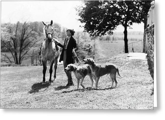 Fashionable Woman With Horse And Dogs Greeting Card by H. Armstrong Roberts/ClassicStock