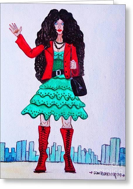 Fashionist Hailing A Taxi Greeting Card