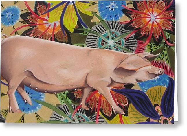Fashionista Pig Greeting Card by Michelle Hayden-Marsan