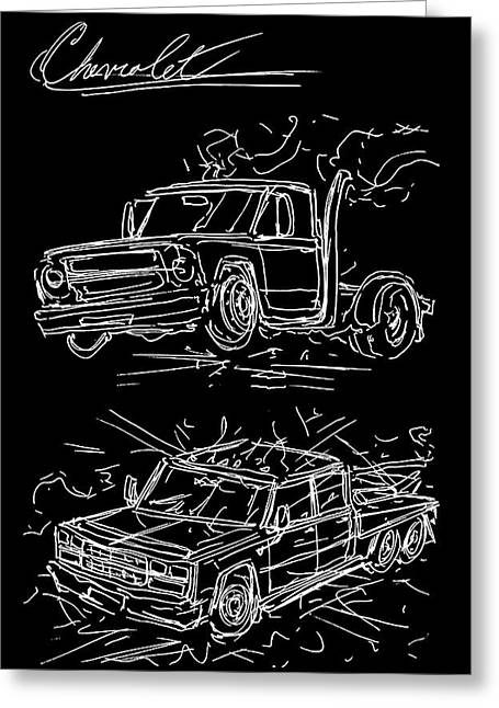 Fast And Furious 1967 Chevy And 1989 Chevy Greeting Card
