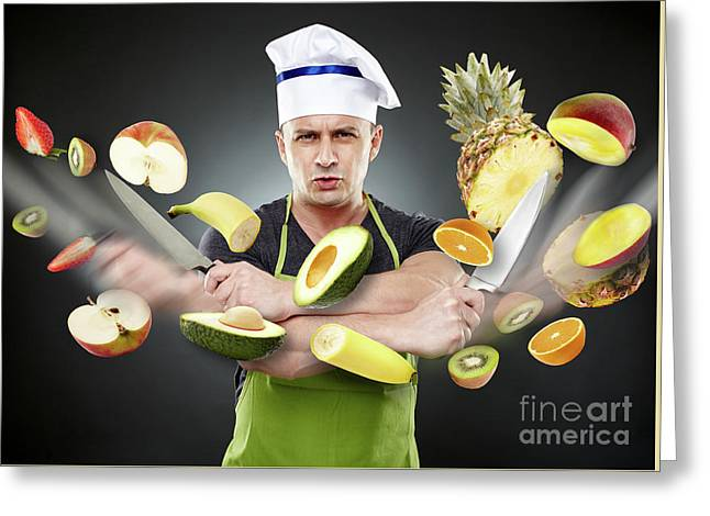 Fast Cook Slicing Vegetables In Mid-air Greeting Card by Catalin Petolea