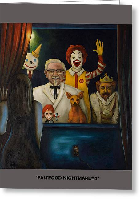 Fast Food Nightmare 4 With Lettering Greeting Card by Leah Saulnier The Painting Maniac