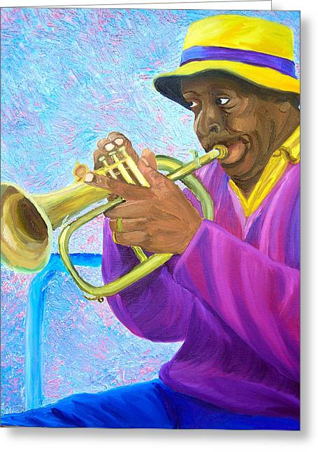 Fat Albert Plays The Trumpet Greeting Card by Michael Lee