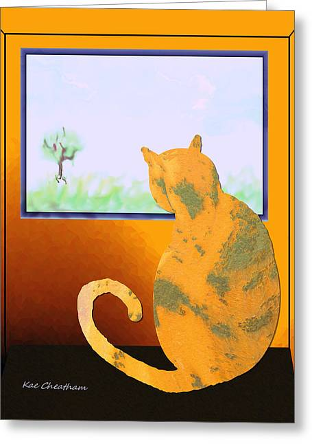 Fat Cat At Her Window Greeting Card