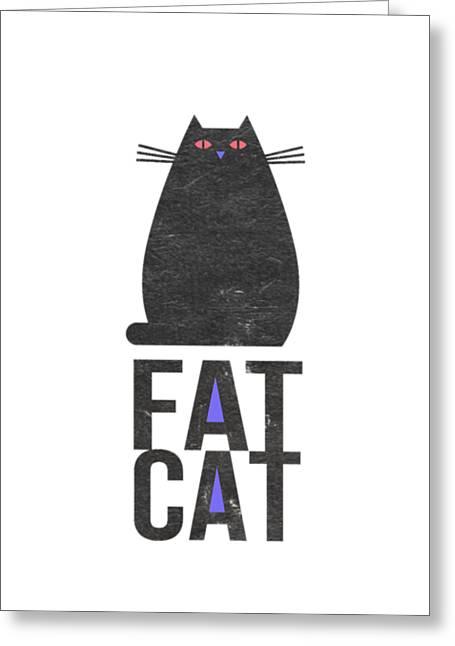 Fat Cat Greeting Card by Edward Fielding