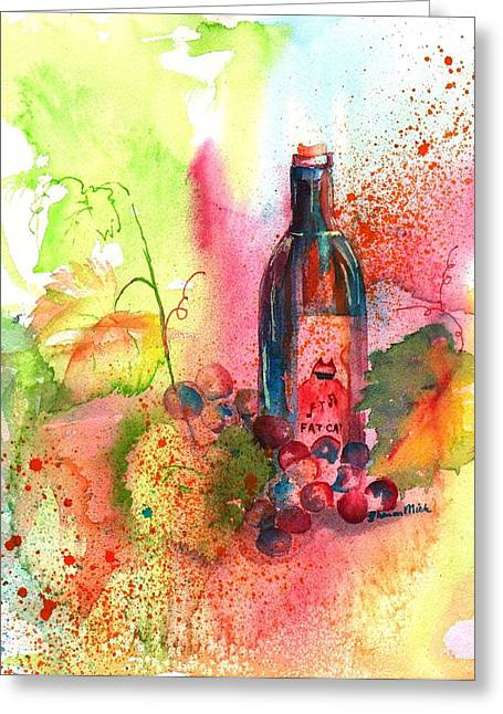 Fat Cat Wine Greeting Card by Sharon Mick