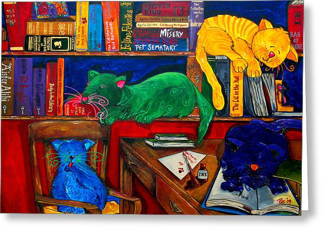 Fat Cats In The Library Greeting Card by Patti Schermerhorn
