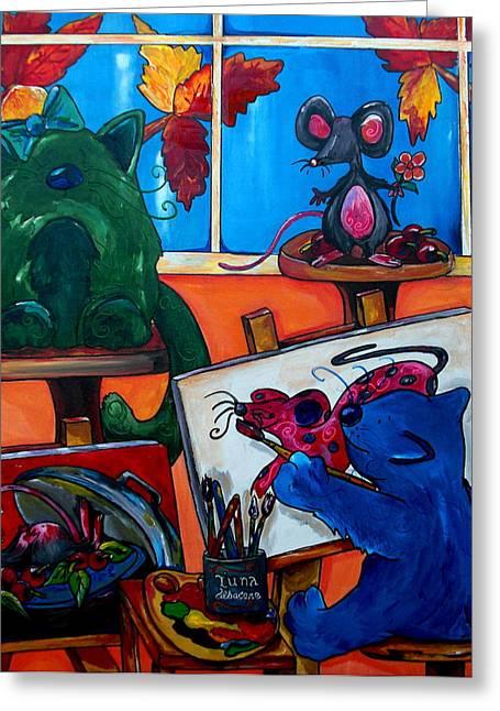 Fat Cats Take Over My Art Studio Greeting Card by Patti Schermerhorn