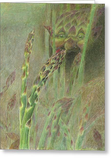Fat Grass Delight Greeting Card by Bon Vernarelli