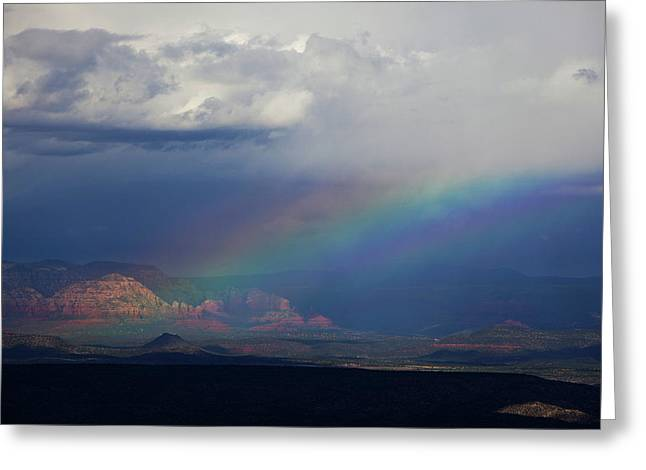 Greeting Card featuring the photograph Fat Rainbow, Sedona Az by Ron Chilston