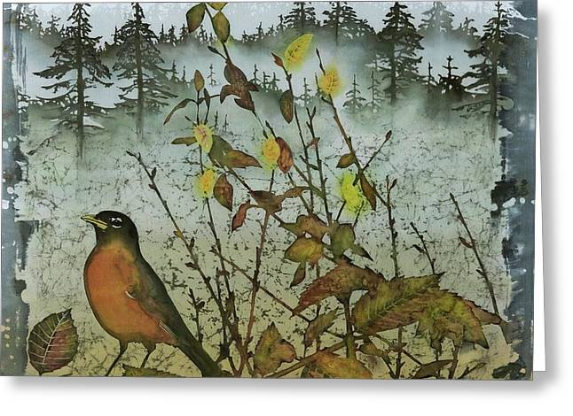 Fat Robins Outside My Windows Greeting Card by Carolyn Doe
