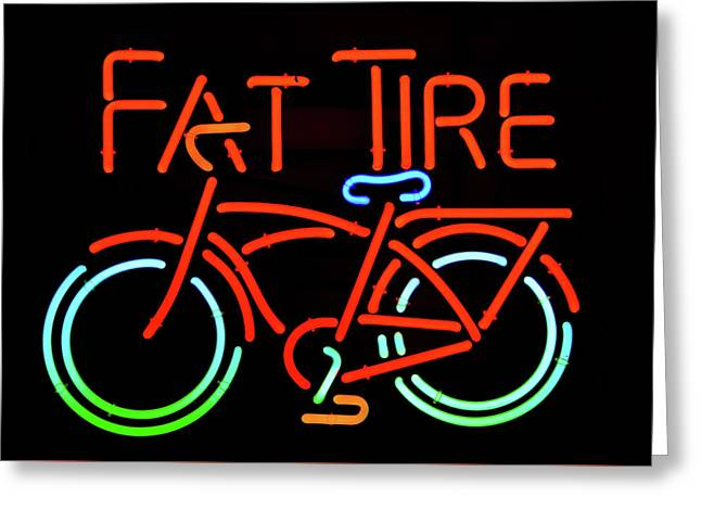 Fat Tire Neon Beer Sign Greeting Card by David Lee Thompson