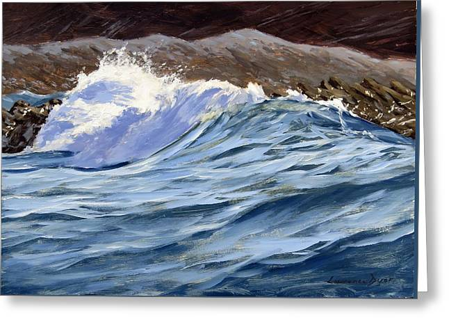 Greeting Card featuring the painting Fat Wave by Lawrence Dyer