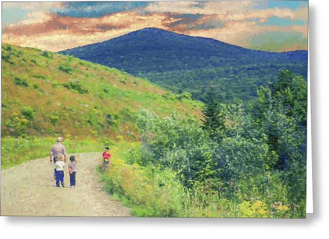 Father And Children Walking Together Greeting Card