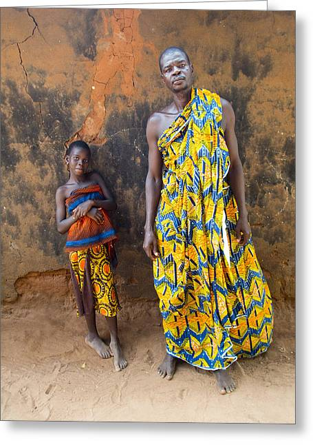 Father And Daughter In Akato Viepe Village Togo Greeting Card