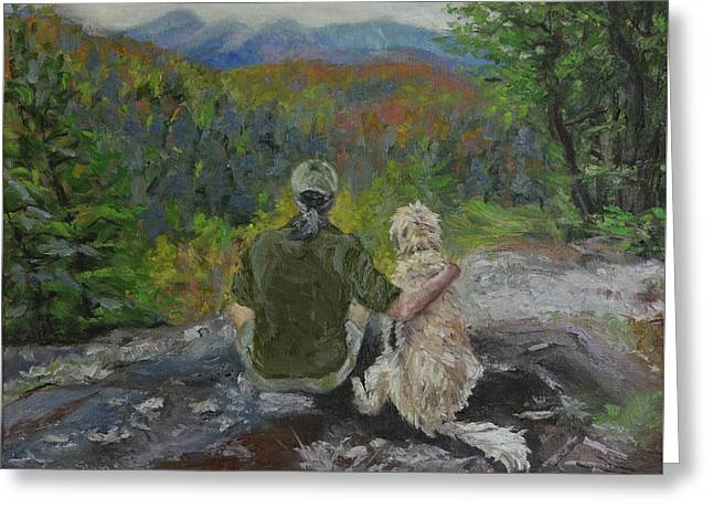 Father And His Dog Greeting Card by Sun Sohovich