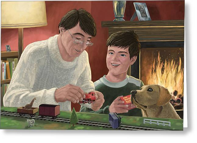 Father And Son Building Model Railway Greeting Card by Martin Davey