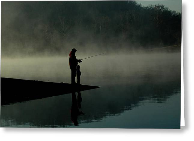 Father And Son Fishing Greeting Card by Shawn Wood