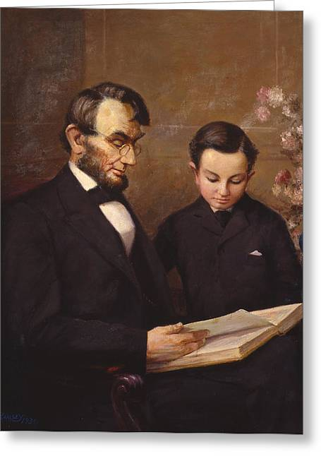 Father And Son Greeting Card by Lewis A Ramsey