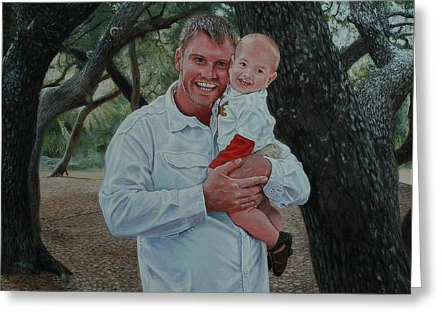 Father And Son Greeting Card by Michael Nowak