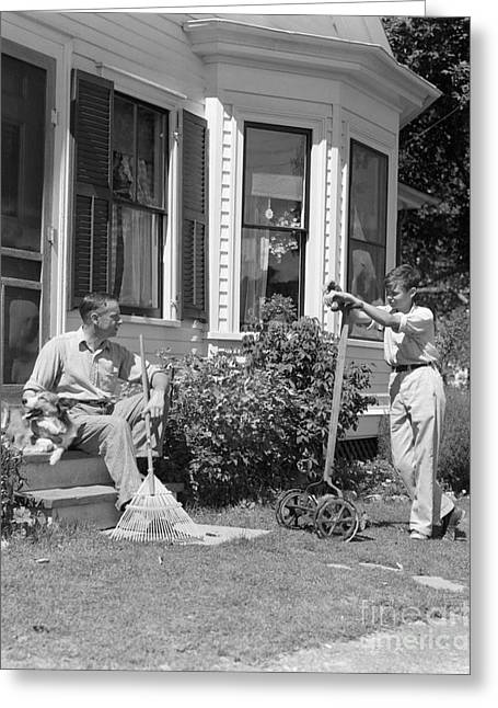 Father And Son Outside Talking, C.1940s Greeting Card
