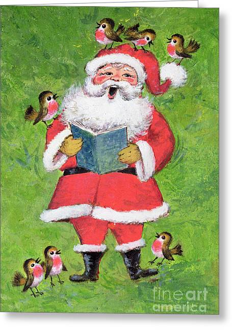 Father Christmas And Robin Chorus Greeting Card by Stanley Cooke