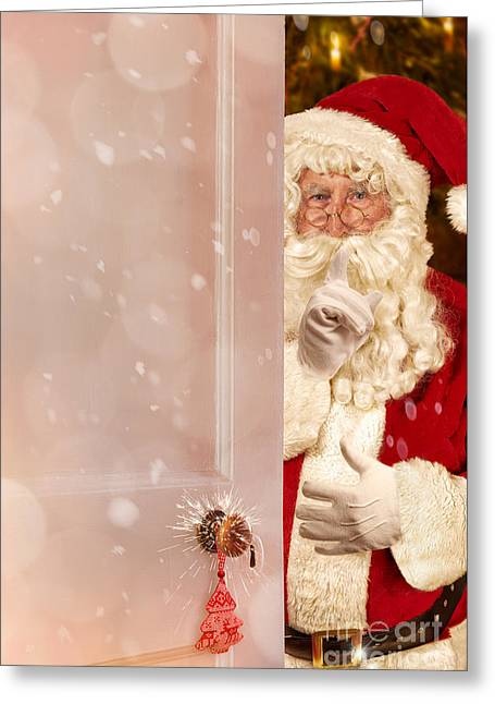Father Christmas At The Door Greeting Card by Amanda Elwell