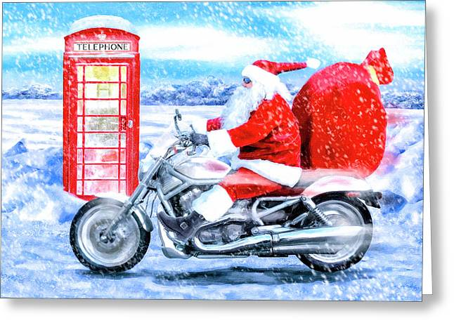 Father Christmas Has A New Bike Greeting Card