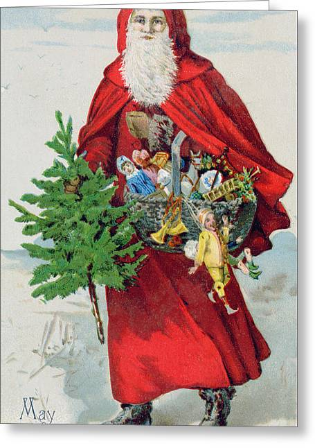 Father Christmas In The Snow, Victorian Postcard Greeting Card by English School