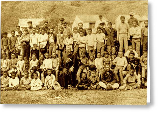 Father Damien And Boy Lepers Of Kalaupapa Greeting Card by James Temple