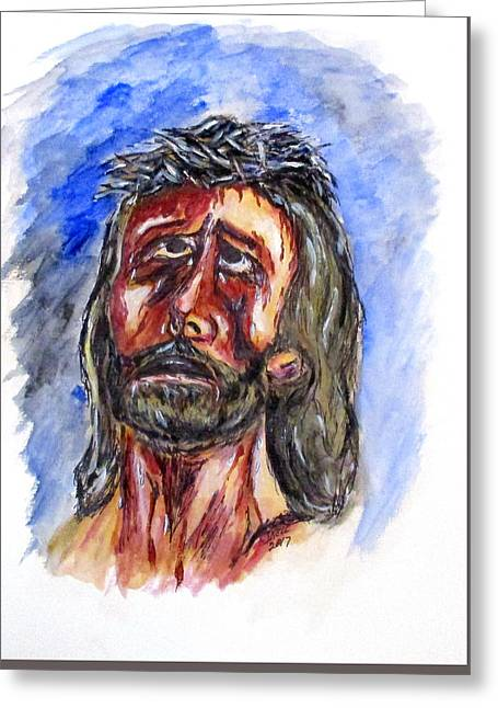 Father Forgive Them Greeting Card by Clyde J Kell