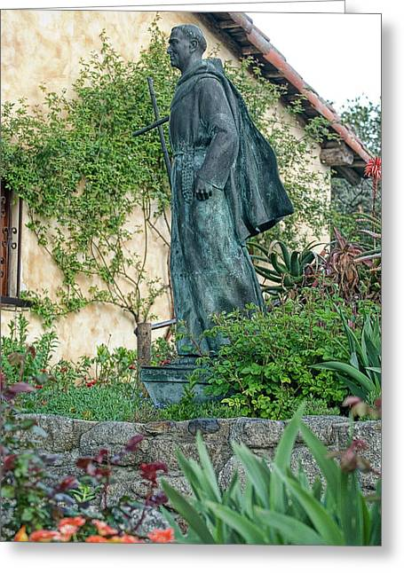 Father Junipero Serra Statue At Mission Carmel Greeting Card