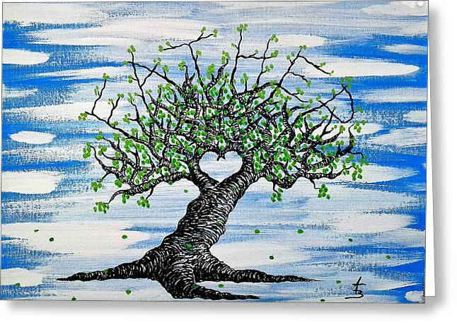 Greeting Card featuring the drawing Father Love Tree by Aaron Bombalicki