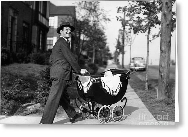 Father Pushing Baby Carriage, C.1940-50s Greeting Card by Debrocke/ClassicStock
