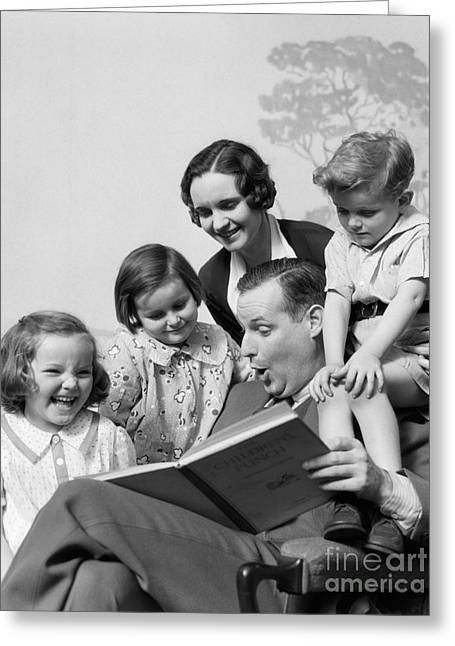 Father Reading To Family, C.1930s Greeting Card by H. Armstrong Roberts/ClassicStock