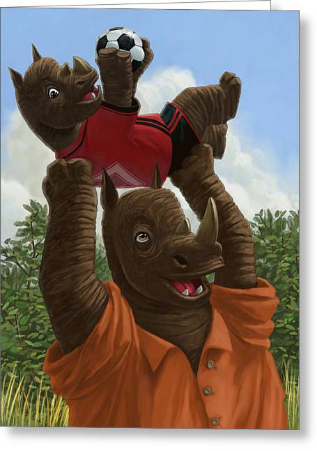 Cute Animal Cartoon Greeting Cards - father Rhino with son Greeting Card by Martin Davey
