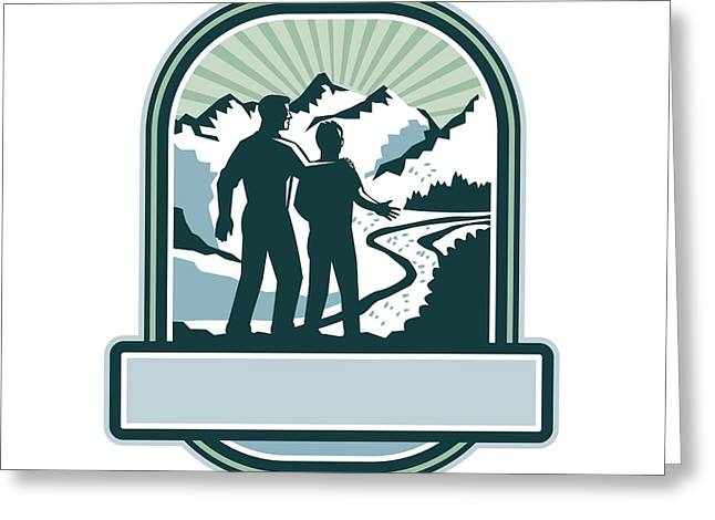Father Son Journey Mountains Crest Retro Greeting Card