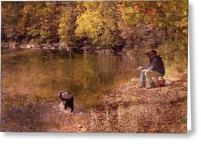 Father,son And Dog Greeting Card