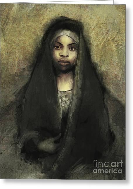 Greeting Card featuring the digital art Fatima by Dwayne Glapion