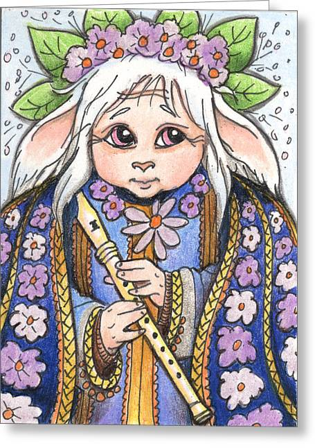Faun Flute Player Greeting Card by Amy S Turner
