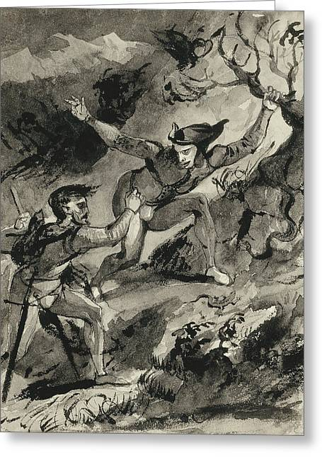 Faust And Mephistopheles On The Blocksberg Greeting Card by Eugene Delacroix