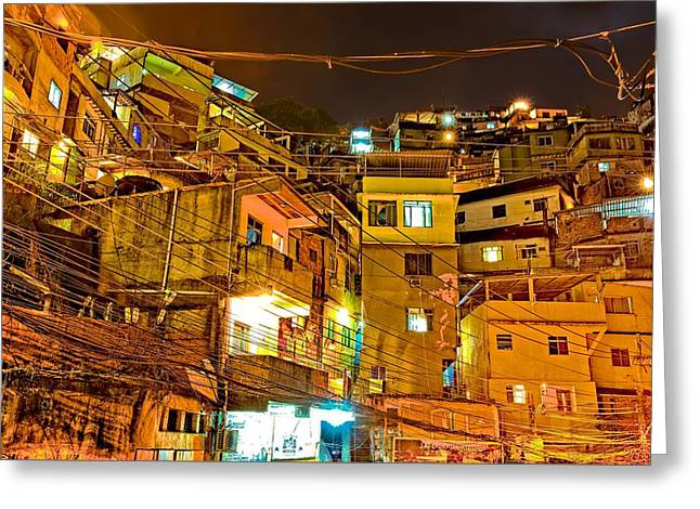 Greeting Card featuring the photograph Favela Night by Kim Wilson