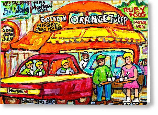 Favorite Dive-in Orange Julep Vintage Montreal Scene Roadside Attraction Art For Sale Carole Spandau Greeting Card by Carole Spandau